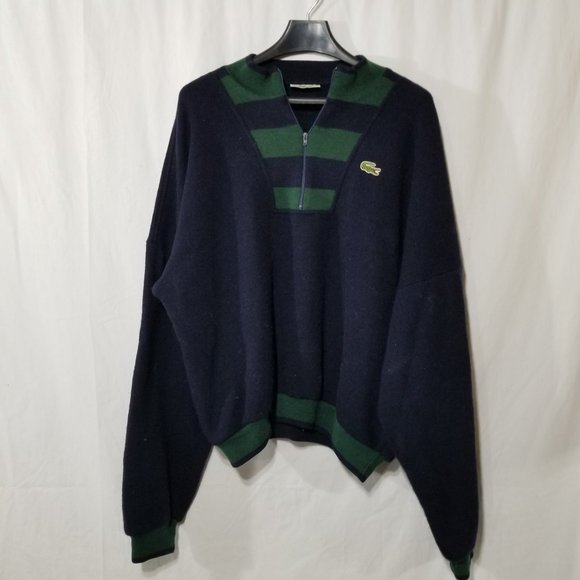 Lacoste wool blend blue green sweater